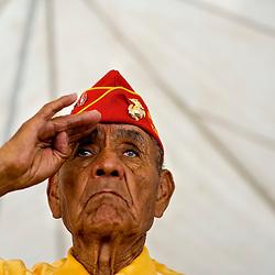 081309   Brian Leddy.Navajo Code Talker George Willie Sr., 84, salutes during ceremonies for Navajo Code Talker Day on Friday.