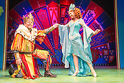 Lovingly ripped off from the classic film comedy Monty Python and the Holy Grail, Spamalot is making a triumphant return to the London West End, at the Harold Pinter Theatre. Featuring Jon Culshaw as King Arthur, Marcus Brigstock as Sir Lancelot, Bonnie Langford as The Lady of the Lake and Todd Carty as Patsy. Picture shows Jon Culshaw and Bonnie Langford.