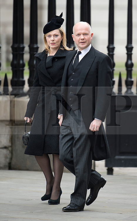 © London News Pictures.17/04/2013. London, UK.  William Hague arriving at St Paul's Cathedral in London for The Funeral of former British Prime Minister, Margaret Thatcher on April 17, 2013. Photo credit : Ben Cawthra/LNP
