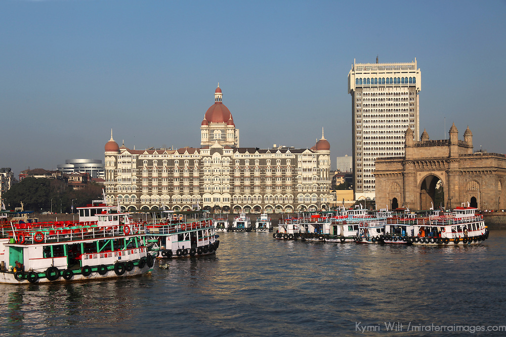 Asia, India, Mumbai. Taj Mahal Palace Hotel, view from water.