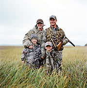 A family duck hunting in Anchorage, Alaska. 2009