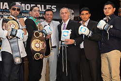 Aug 30, 2012; Brooklyn, NY, USA; (L to R) WBA Welterweight Champion Paulie Malignaggie, Unified Super Lightweight Champion Danny Garcia, Oscar DeLaHoya, Barclays Center CEO Brett Yormark, Erik Morales and Pablo, Cesar Cano at the press conference at New York Marriott at the Brooklyn Bridge. The press conference announced the upcoming October 20th card at the Barclay's Center.