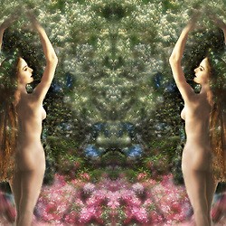 Two mysterious women twins, perhaps nature goddesses, standing naked in front of a strange apparition formed from a tree. There are pink spring flowers in the foregruond