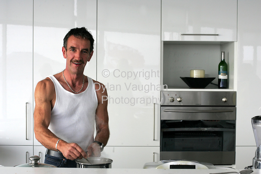 5/11/2004.Tony Montana pictured making porridge in Tramore.Picture Dylam Vaughan