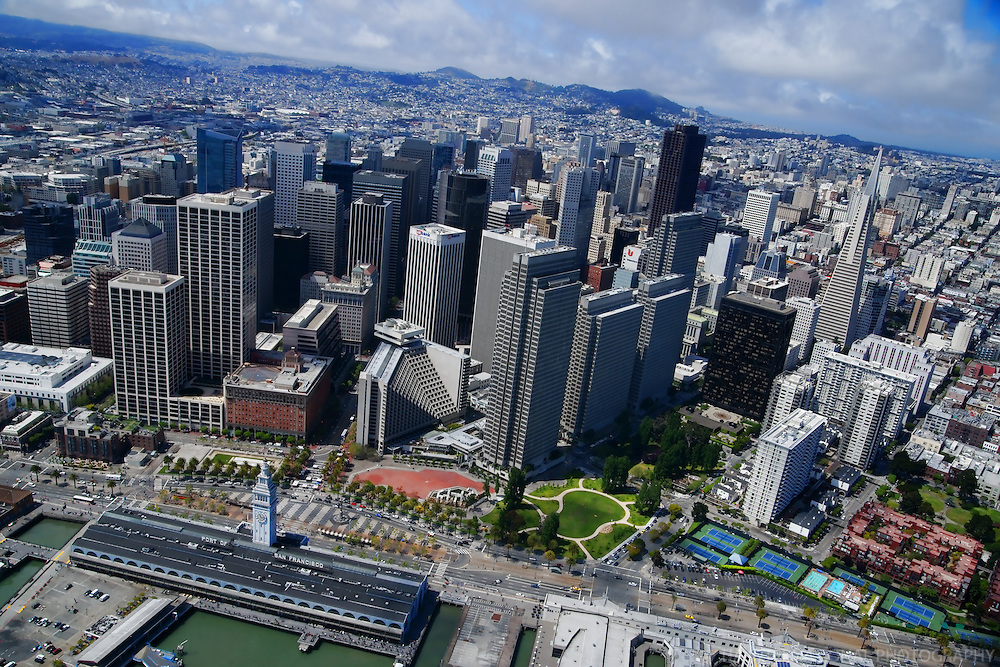 Ferry Building & Embarcadero, Downtown San Francisco (Aerial)