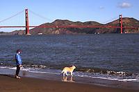 Golden Gate Bridge, Walking the dog at Baker Beach