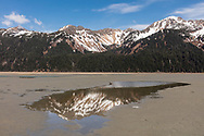 Chugach Mountains reflected in water on the tidal flats of the Copper River Delta in Southcentral Alaska. Spring. Morning.