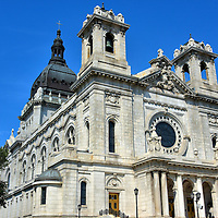 Basilica of St. Mary in Minneapolis, Minnesota<br /> Emmanuel Louis Masqueray, the architect who designed the Basilica of St. Mary, also created the Cathedral of Saint Paul.  The two churches are co-cathedrals for the Roman Catholic diocese in the Twin Cities. This exquisite classic revival structure was built with white Vermont granite. It has twin bell towers reaching 116 feet and is topped by a copper dome.  In 1926, it became the first basilica in the United States.