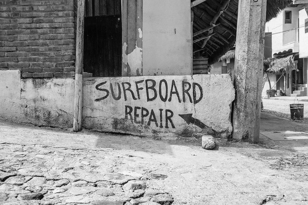 Surfboard repair. Sayulita, Mexico