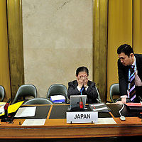 03.03.2014 Conference on Disarmament. Year 35.  2014 Session 1 Plenary meeting 1307. Presidence of Italy.  <br /> <br /> Hiroyuki Yamamoto deputy representative of the Japanese delegation during discussions following the end of the meeting, shortly before Japan ws due to take over the presdiency of the CD. The following day a Japanese government official addressed the conference:<br /> <br /> &quot;It is regrettable that this distinguished body, which produced the Chemical Weapons Convention(CWC), Biological Weapons Convention (BWC) and Comprehensive Nuclear-Test-Ban Treaty (CTBT), remains mired in an 18-year standstill. In order to meet expectations of the people worldwide for a safer world free of nuclear weapons, &nbsp;<br /> <br /> &nbsp;.....As the only country ever to have suffered nuclear bombings, Japan knows from its own<br /> experience the catastrophic humanitarian consequences from the use of nuclear weapons.&quot;