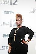 June 30, 2012-Los Angeles, CA : Recording Artist Amber Bullock attends the 2012 BET Awards- Media Room held at the Shrine Auditorium on July 1, 2012 in Los Angeles. The BET Awards were established in 2001 by the Black Entertainment Television network to celebrate African Americans and other minorities in music, acting, sports, and other fields of entertainment over the past year. The awards are presented annually, and they are broadcast live on BET. ((Photo by Terrence Jennings)