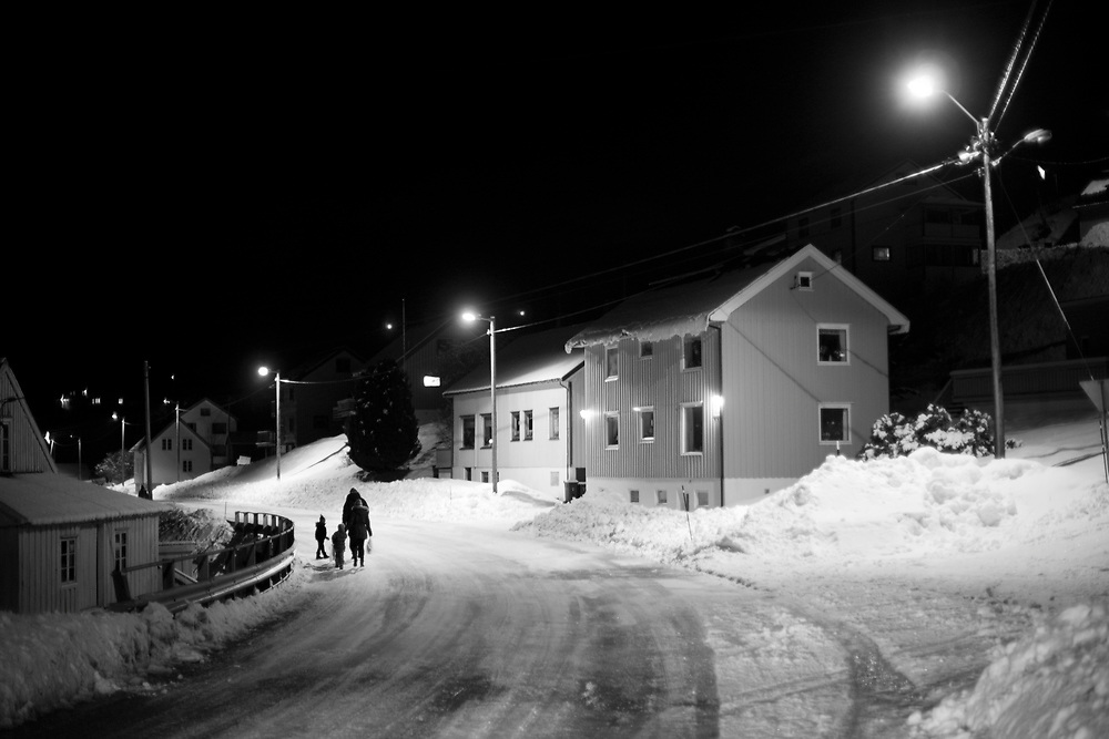 A family on their way home in the village of Flemma...Photo by Knut Egil Wang /MOMENT