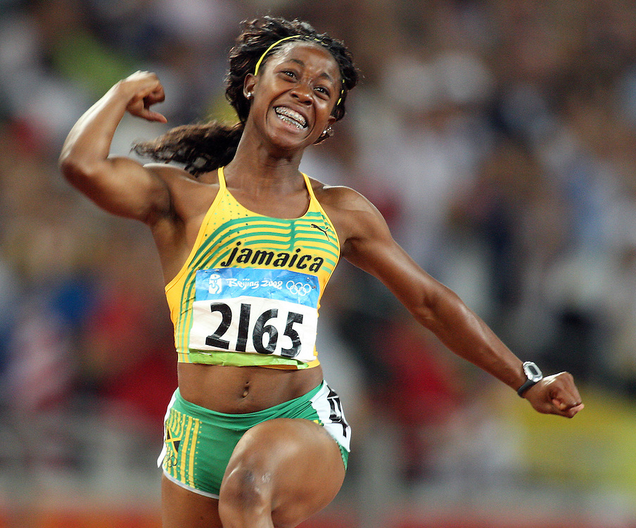 2008 Beijing Olympic Games- Day 3 - August 17th- Evening. Photo: Claus Andersen *** Shelley-Ann Fraser, Jamaica, 100m *** Augst 17