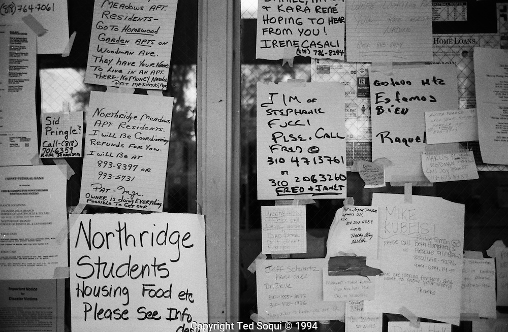 Signs at CSUN.<br /> Northridge earthquake.
