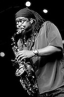 Courtney Pine performing live at the bishopstock blues festival in 2001