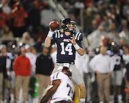 Ole Miss quarterback Bo Wallace (14) passes vs. Texas A&M in Oxford, Miss. on Saturday, October 6, 2012. Texas A&M won 30-27...