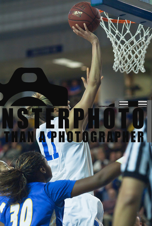 01/26/12 Newark DE: Delaware Junior Forward #11 Elena Delle Donne attempts  a lay up near the hoop during a NCAA Women's College basketball game against Hofstra Thursday, Jan. 26, 2012 at the Bob carpenter center in Newark Delaware.<br /> <br /> All-American Elena Delle Donne erupted for a season-high and building record of 41 points.