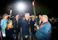 PLOEGSTEERT - King Philippe of Belgium and Queen Mathilde of Belgium and Crown Princess Elisabeth attend a First World War commemoration, in Ploegsteert, Belgium, 17 October 2014. The Lichtfront will illuminate the front line of 1914, with 8,400 torchbearers to form a human chain stretching about 84 kms along the line where the Western Front stood before battle.  COPYRIGHT ROBIN UTRECHT