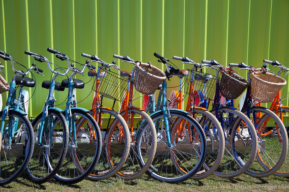 North America, Canada, Nova Scotia, Halifax. Bicycles for rent along the Halifax waterfront.