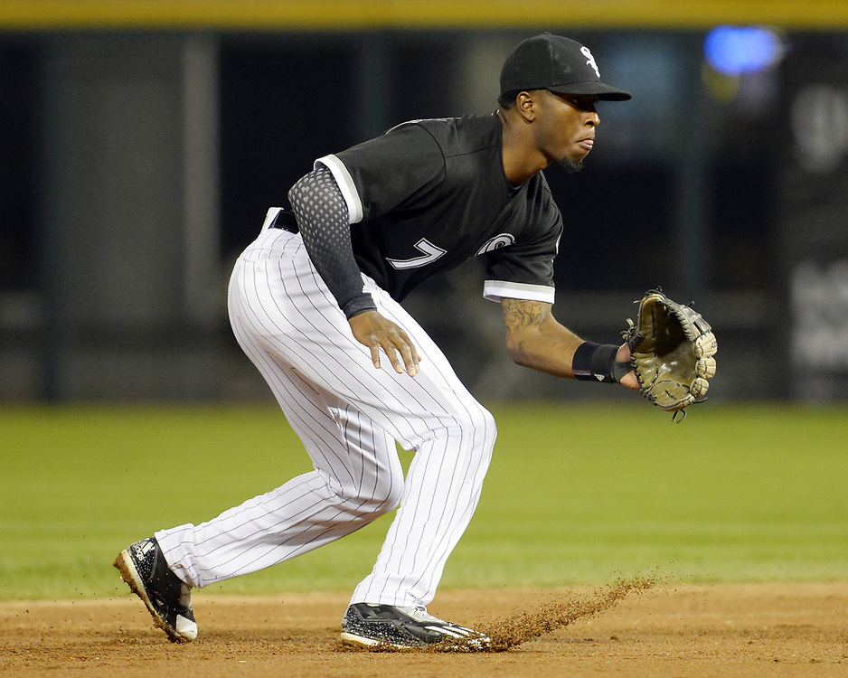 CHICAGO - APRIL 25:  Tim Anderson #7 of the Chicago White Sox fields against the Kansas City Royals on April 25, 2017 at Guaranteed Rate Field in Chicago, Illinois.  The White Sox defeated the Royals 10-5.  (Photo by Ron Vesely)   Subject:  Tim Anderson