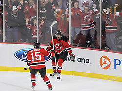 May 6, 2012; Newark, NJ, USA; New Jersey Devils right wing Dainius Zubrus (8) and New Jersey Devils right wing Petr Sykora (15) celebrate Zubrus' goal during the second period in game four of the 2012 Eastern Conference semifinals at the Prudential Center.