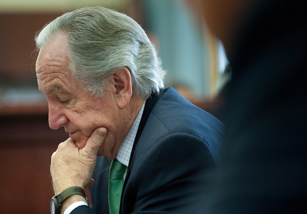 Nov 30, 2010 - Washington, District of Columbia, U.S. - Senators TOM HARKIN (D-IA) listens as Mike Enzi (R-WY) speak to the press about the food-safety bill that passed the Senate on Tuesday. (Credit Image: © Pete Marovich/ZUMA Press)