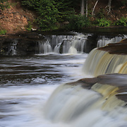 &quot;Lower Tahquamenon Summer&quot;<br /> <br /> Beautiful waterfalls as water flows down the Tahquamenon River at the lower falls.