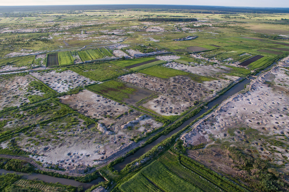 A klondike where amber has been illegally mined, as seen from a drone, on Tuesday, May 31, 2016 in Krupove, Ukraine.