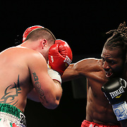 Cruiserweight boxing pro Alex Guerrero of Salisbury, Md ® in action during champs at the chase against Cruiserweight boxing pro Tony Ferrante Friday, Nov 21, 2014 at The Case Center on The River Front in Wilmington, Del.