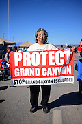 """Woman holds """"Protect Grand Canyon"""" sign during morning parade at Navajo Nation Fair, a world-renowned event that showcases Navajo Agriculture, Fine Arts and Crafts, with the promotion and preservation of the Navajo heritage by providing cultural entertainment. Window Rock, Arizona."""