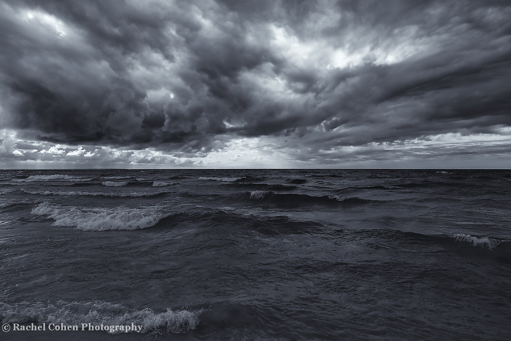 &quot;Lake Michigan in Motion&quot; mono<br /> <br /> Beautiful and stormy Great Lakes image in black and white!