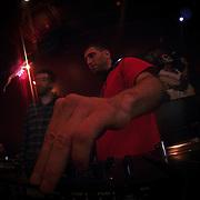 10/23/11 Philadelphia PA: DJ Mike Justin during TEASE exhibition Sunday, Oct. 23, 2011 at National Mechanics in Philadelphia Pennsylvania...Monsterphoto/SAQUAN STIMPSON