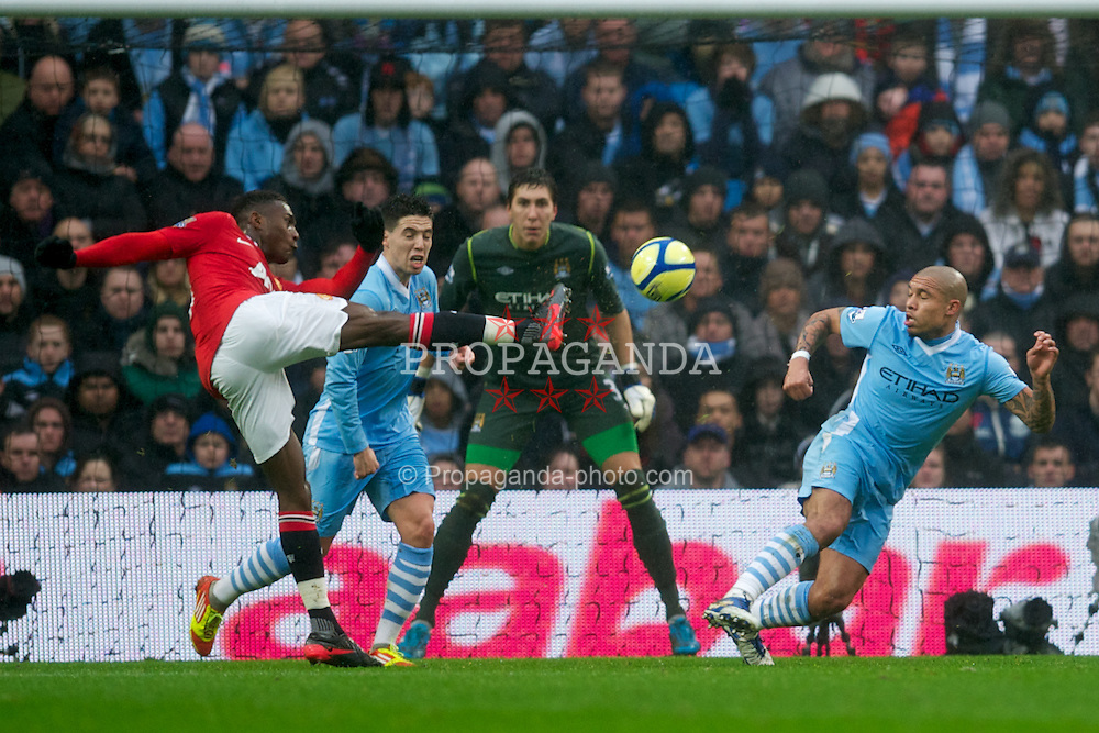 MANCHESTER, ENGLAND - Sunday, January 8, 2012: Manchester United's Danny Welbeck scores the second goal against Manchester City during the FA Cup 3rd Round match at the City of Manchester Stadium. (Pic by David Rawcliffe/Propaganda)