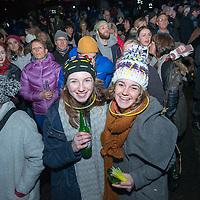 Revellers at Princess Street gardens, Hogmanay celebrations, Edinburgh 2016