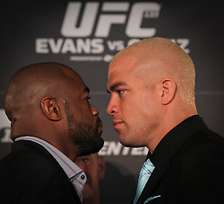 August 4, 2011; Philadelphia, PA; USA; Rashad Evans and Tito Ortiz pose after the final press conference for UFC 133 at the Independence Visitors Center.