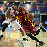 Fort Wayne Mad Ants Guard Sadiel Rojas (17) drives past Delaware 87ers Forward Rodney Williams (22) in the second half of a NBA D-league regular season basketball game between the Delaware 87ers and The Fort Wayne Mad Ants Sunday, Dec. 15, 2013 at The Bob Carpenter Sports Convocation Center, Newark, DE