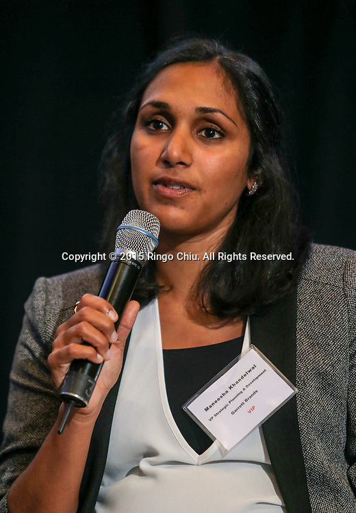 Maneesha Khandelwal, VP Strategy Planning & Development, Garrett Brands LLC (Chicago) in a panel discussion during the Shanghai Investing Environment Seminar on Thursday September 24, 2015 in Los Angles. (Photo by Ringo Chiu/PHOTOFORMULA.com)