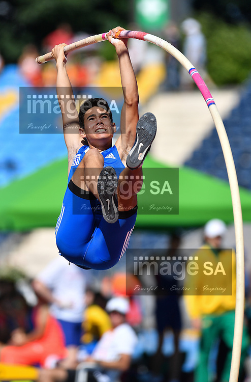 BYDGOSZCZ, POLAND - JULY 21: Nikolaos Nerantzis of Greece in the qualifying round of the mens pole vault during day 3 of the IAAF World Junior Championships at Zawisza Stadium on July 21, 2016 in Bydgoszcz, Poland. (Photo by Roger Sedres/Gallo Images)