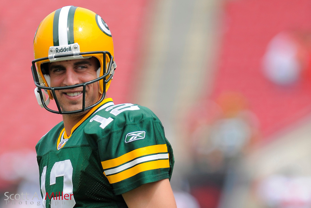Green Bay Packers quarterback Aaron Rodgers (12) prior to his team's game against the Tampa Bay Buccaneers on Sept. 28, 2008 in Tampa, Fla.       ...©2008 Scott A. Miller