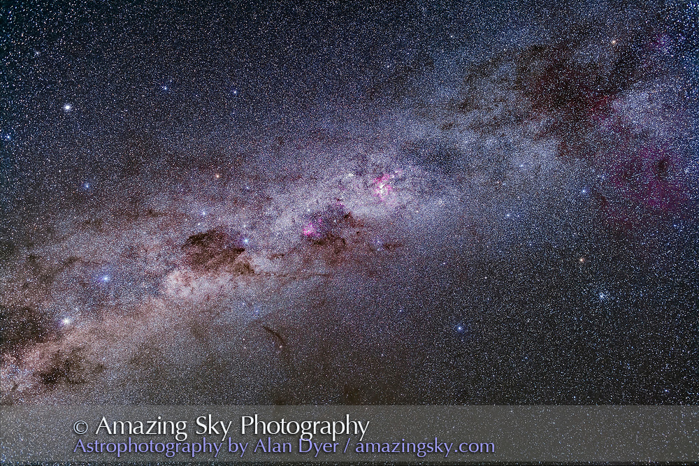Splendours of the southern Milky Way from Vela (at top right) to Centaurus (at bottom left), including the Carina Nebula, Crux and Coal Sack, and Alpha and Beta Centauri. A part of the huge Gum Nebula is at far right. The False Cross is at right, with the large cluster NGC 2516, the Diamond Cluster, below it. The globular cluster Omega Centauri is at upper left. <br /> <br /> This is a stack of 4 x 3-minute exposures at f/2.8 with the 35mm lens and filter-modified Canon 5D MkII at ISO 2000. Median combined to help eliminate cloud that was moving in. On the iOptron Sky-Tracker.