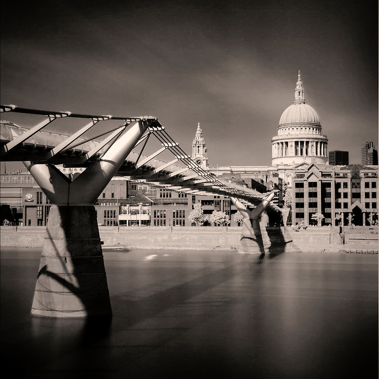 A 300 sec long exposure of St Pauls Cathedral using a R72 filter with a B&amp;W conversion.<br /> <br /> David Henderson Photography Fine Art Print