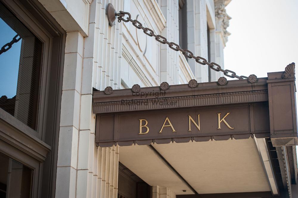 2016 October 11 - Detail, Wells Fargo Bank building along University Way in the University District, Seattle, WA, USA. By Richard Walker