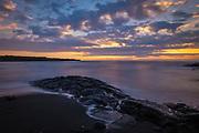 Sunrise at Punalu'u Black Sand Beach in the Ka'u District of the Big Island of Hawaii.