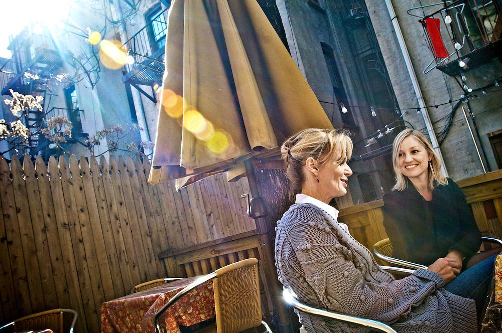 Writers in Park Slope, Brooklyn.Siri Hustvedt and Naja Marie Aidt  in their neighborhood Park Slope.