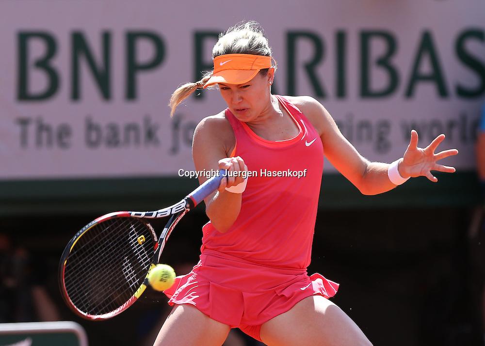French Open 2014, Roland Garros,Paris,ITF Grand Slam Tennis Tournament, Damen Semi,<br /> Eugenie Bouchard (CAN),Aktion,Einzelbild, Halbkoerper,Querformat,