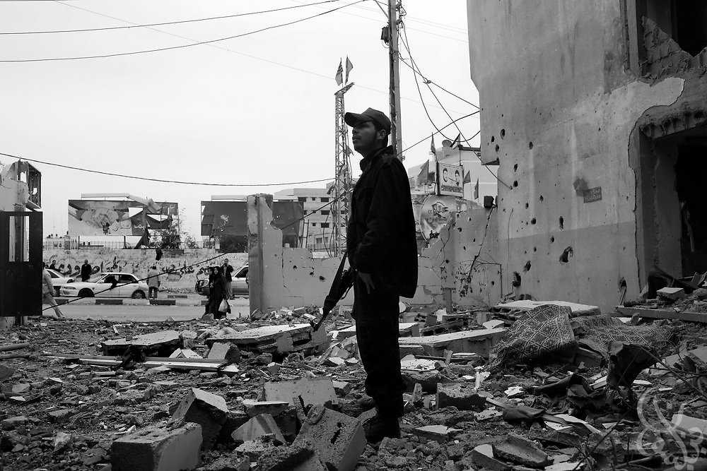 HAMAS Policemen inspect the remains of their police station that was destroyed during the recently ended military operation by the Israelis against HAMAS January 19, 2009 in Gaza City. During the 21 day operation , Israel specifically targeted members of the HAMAS forces and  heavily damaged the groups infrastructure.