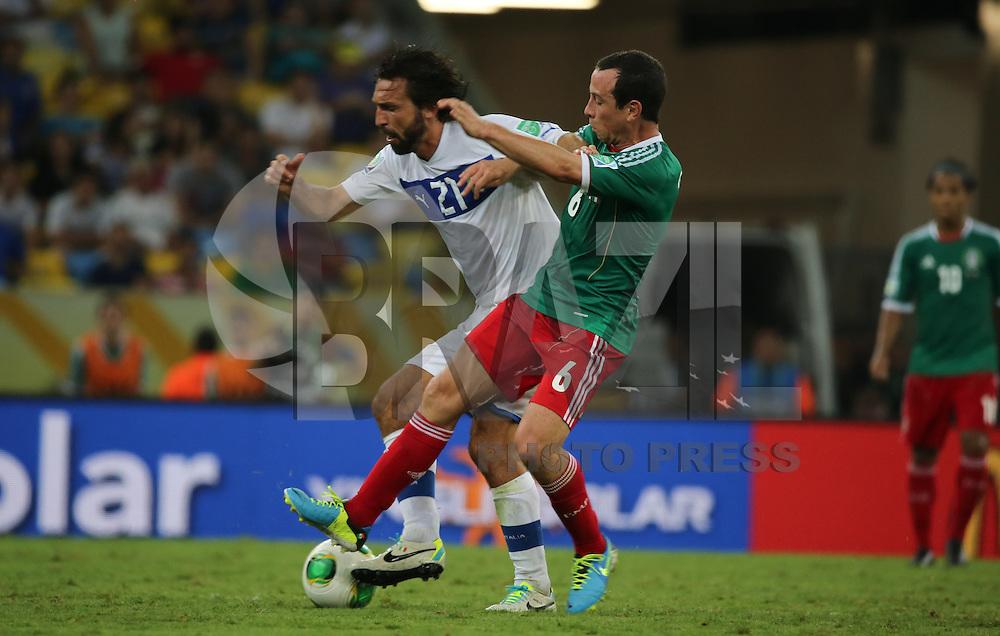 RIO DE JANEIRO, RJ, 16 JUNHO 2013 - COPA DAS CONFEDERACOES - MEXICO X ITALIA  - Pirlo da Italia durante a partida entre Mexico x Itália, válida pela primeira rodada da Copa das Confederações, no Estádio do Maracanã, no Rio de Janeiro, neste domingo.16. (FOTO: VANESSA CARVALHO/ BRAZIL PHOTO PRESS).