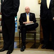 Vice President Dick Cheney sits and waits for the conclusion as President George Bush meets with the Prime Minister of Denmark Anders Fogh Rasmussen in the Oval Office Friday, May 20, 2005, in Washington, DC...Photo by Khue Bui