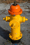 Hydrant yellow and orange.