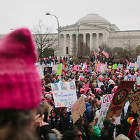 Protestors march in the Women's March on Washington D.C., January 21, 2017